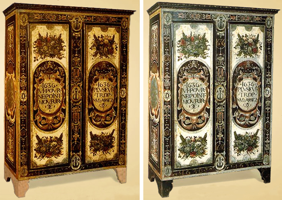 restauration polychromie d une armoire d uz s. Black Bedroom Furniture Sets. Home Design Ideas